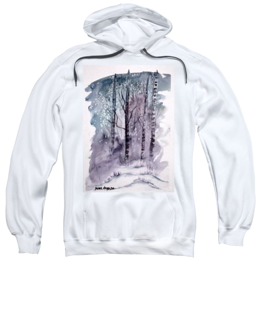 Watercolor Landscape Painting Sweatshirt featuring the painting Winter Snow Landscape Painting Print by Derek Mccrea