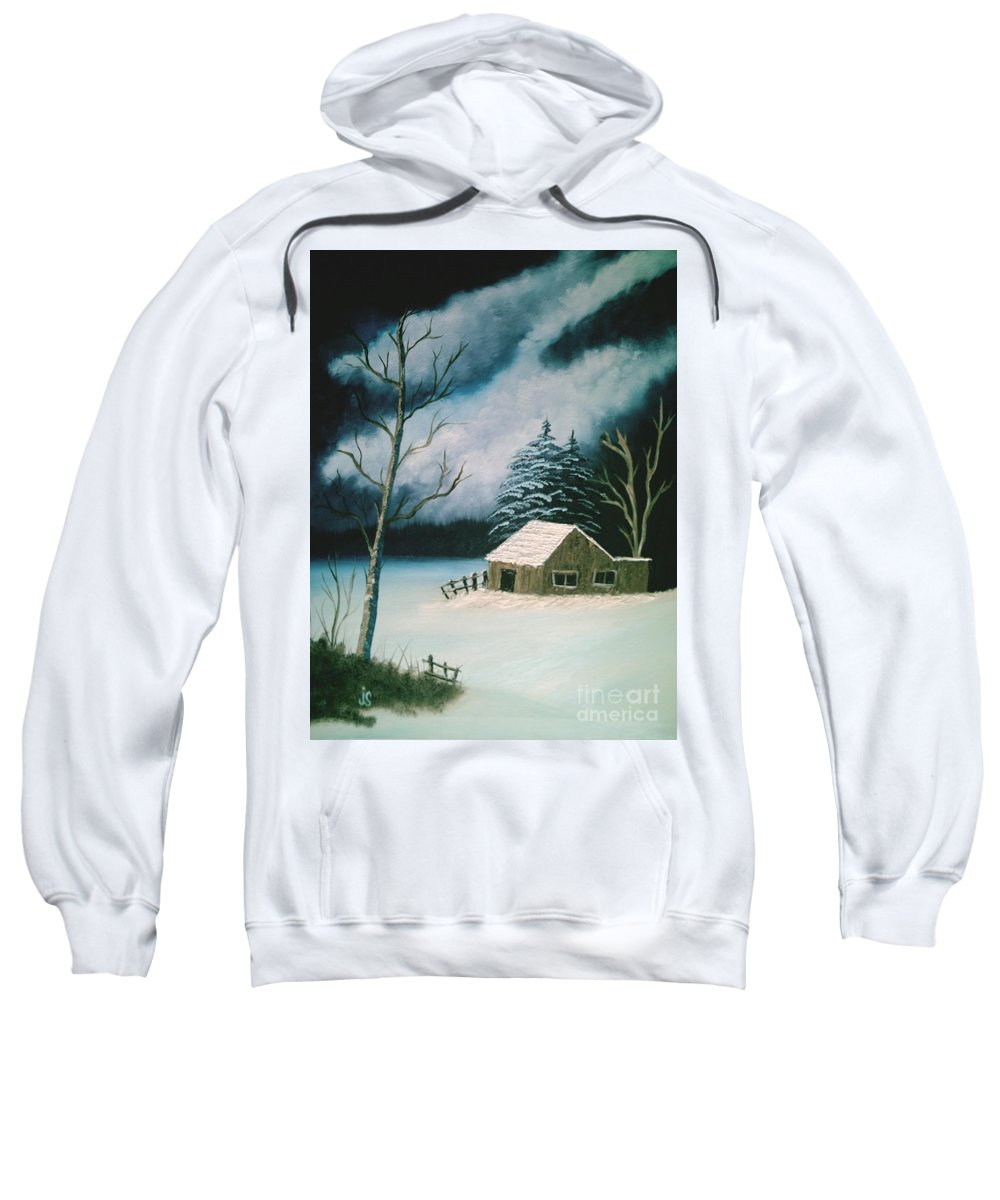 Winter Landscape Sweatshirt featuring the painting Winter Solitude by Jim Saltis