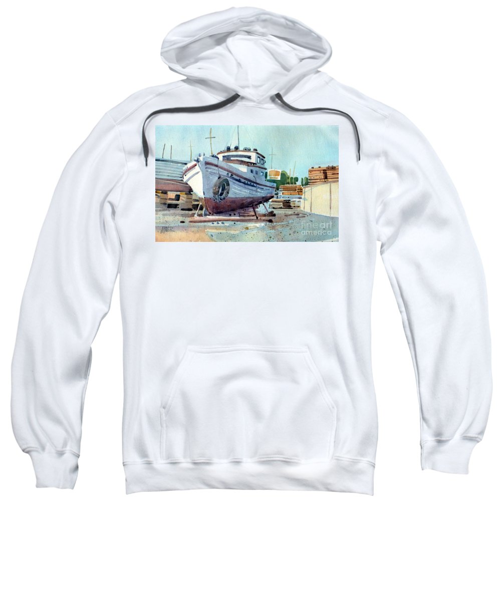Boatyard Sweatshirt featuring the painting Winter Storage by Donald Maier