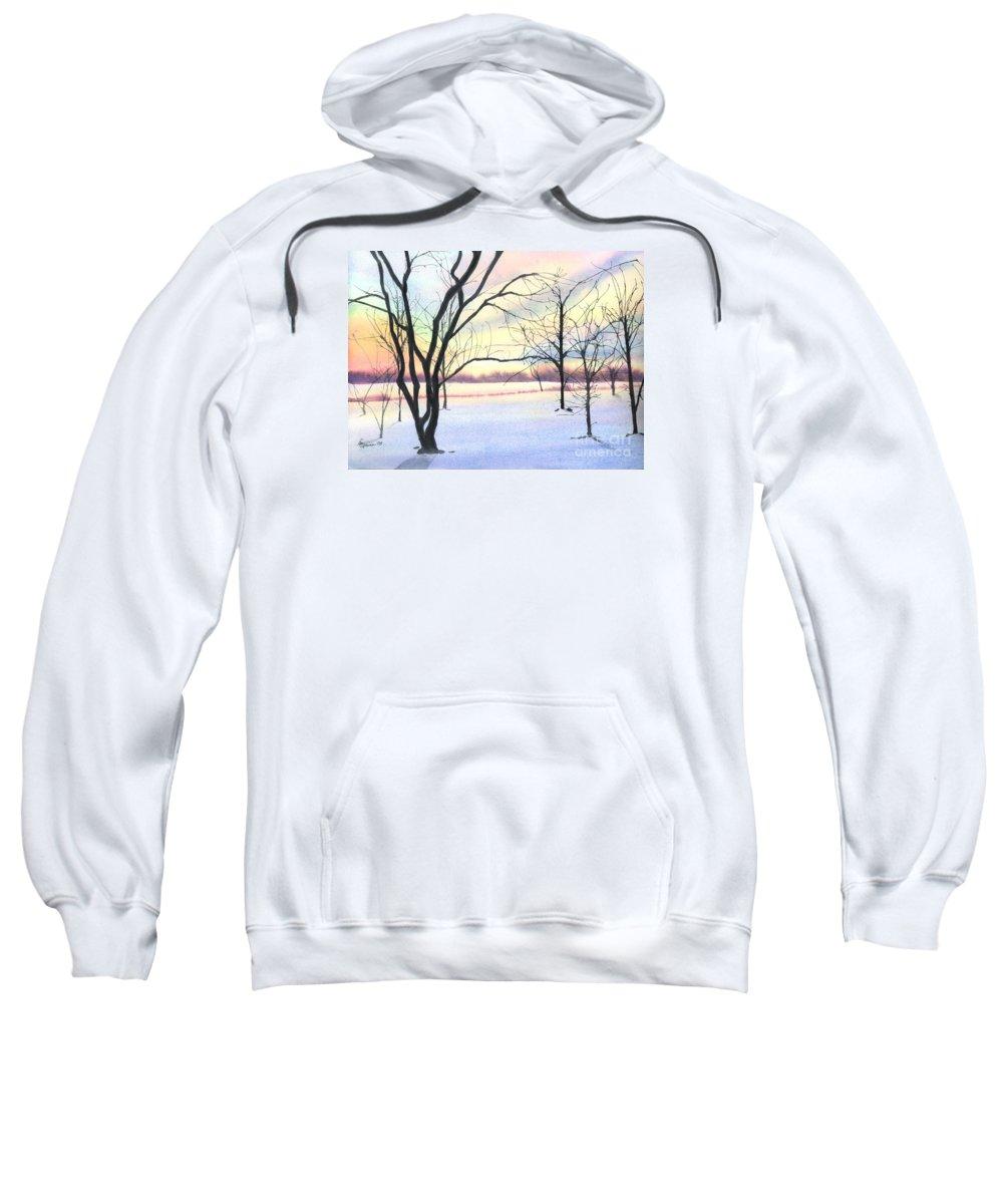 Sunrise Sweatshirt featuring the painting Winter Sunrise by Lynn Quinn