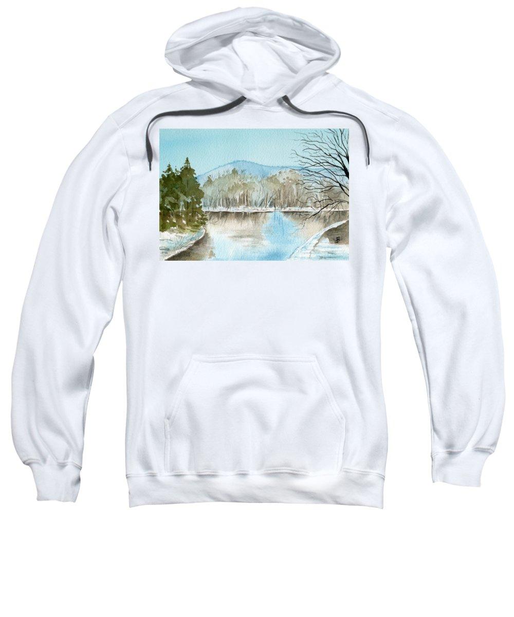 Landscape Sweatshirt featuring the painting Winter's Daylight Chill by Brenda Owen
