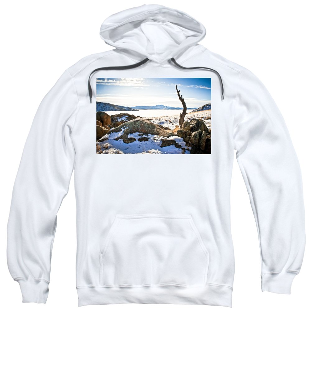 Winter Sweatshirt featuring the photograph Winter's Silence - Pathfinder Reservoir - Wyoming by Diane Mintle