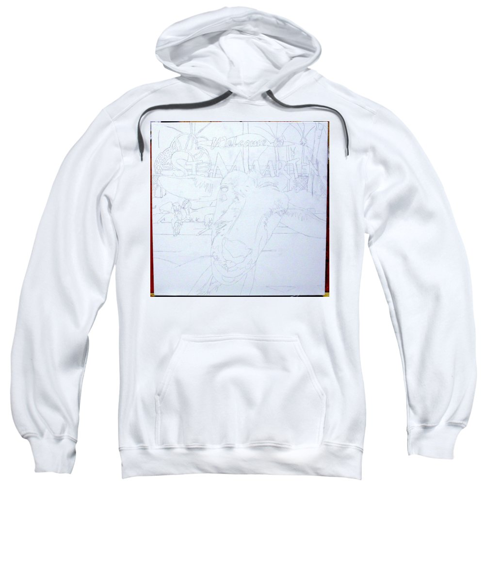 Sweatshirt featuring the painting Wip- Goats Of St. Martin- Sofie by Cindy D Chinn