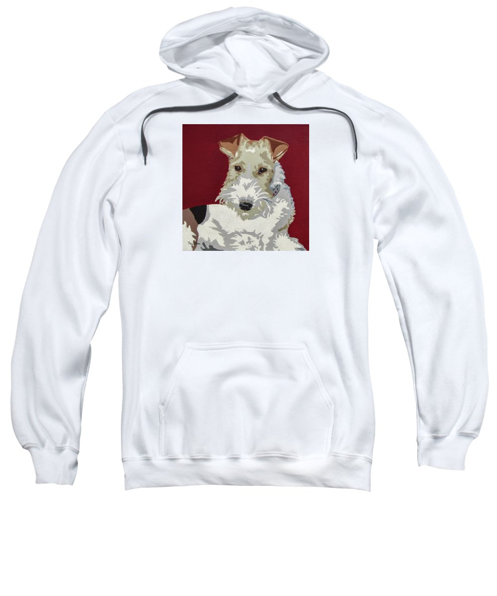 Wire Fox Terrier Sweatshirt featuring the painting Wirehaired Fox Terrier by Slade Roberts