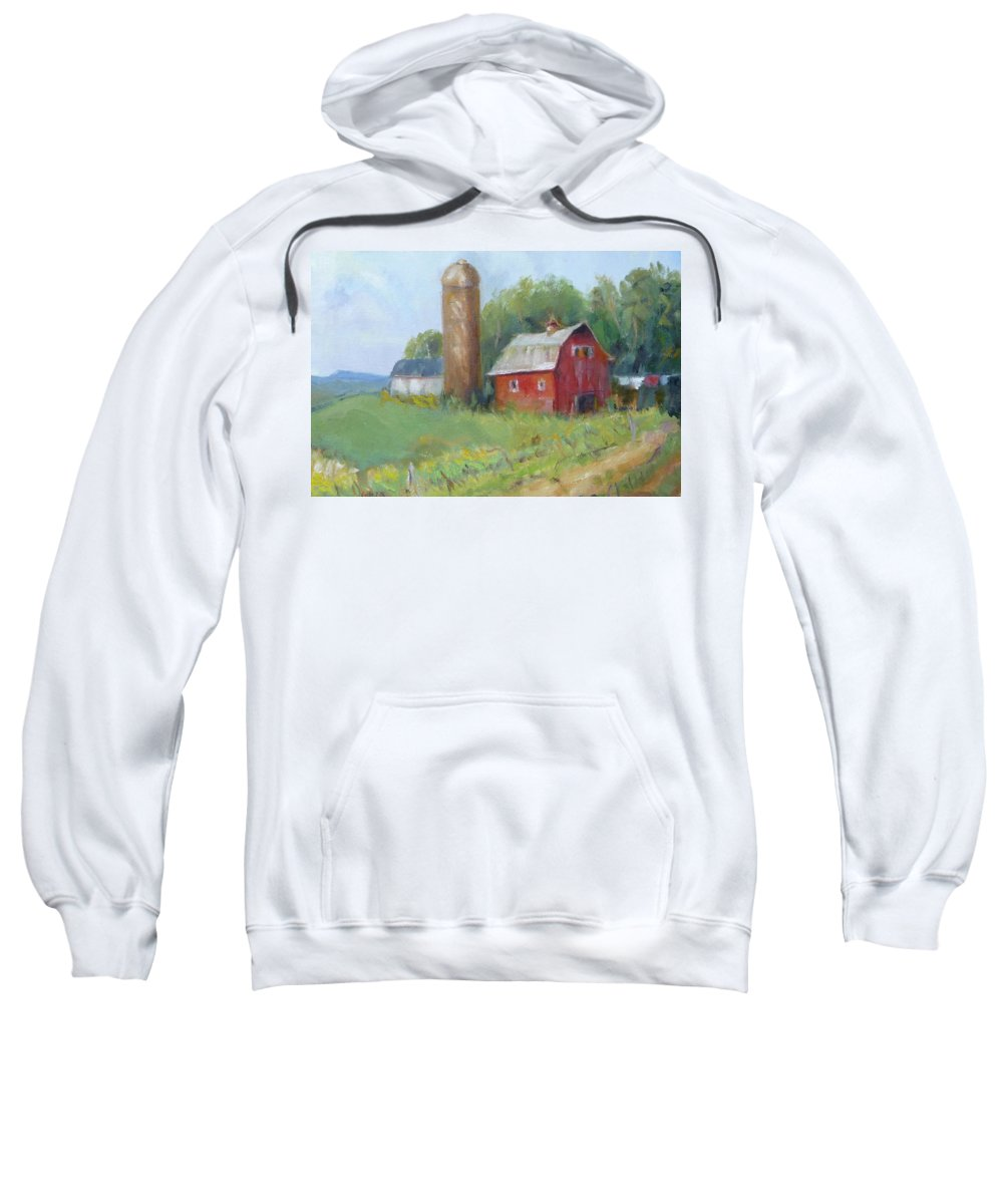 Barn Painting Sweatshirt featuring the painting Wisconsin Barn by Renate Schliesmann