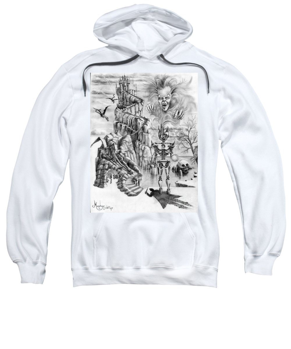Witch Sweatshirt featuring the drawing Witch Hunter by Murphy Elliott