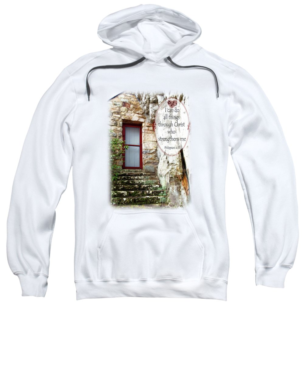 Sallie Howard Memorial Chapel Sweatshirt featuring the photograph With Me - Verse And Heart by Anita Faye