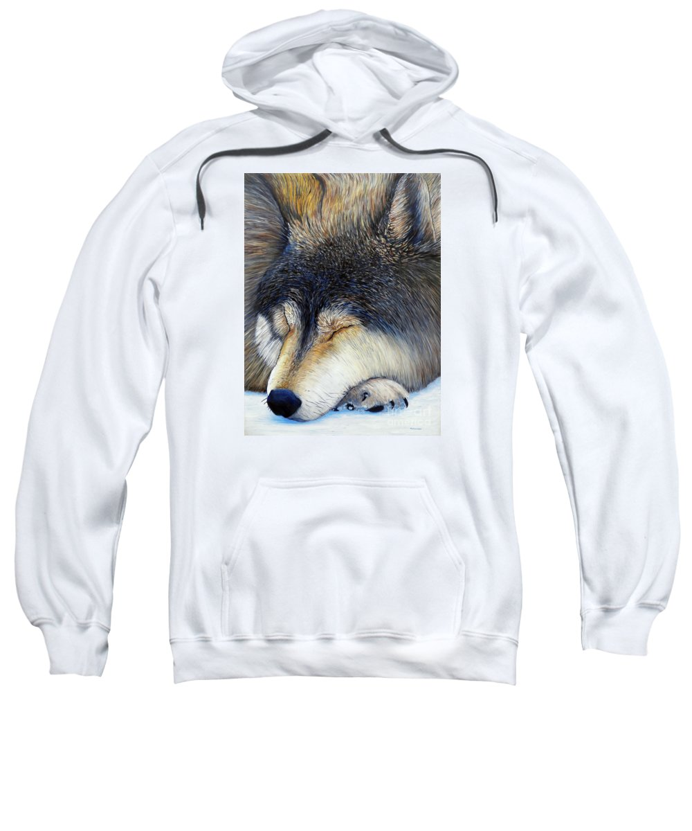 Wolf Sweatshirt featuring the painting Wolf Dreams by Brian Commerford