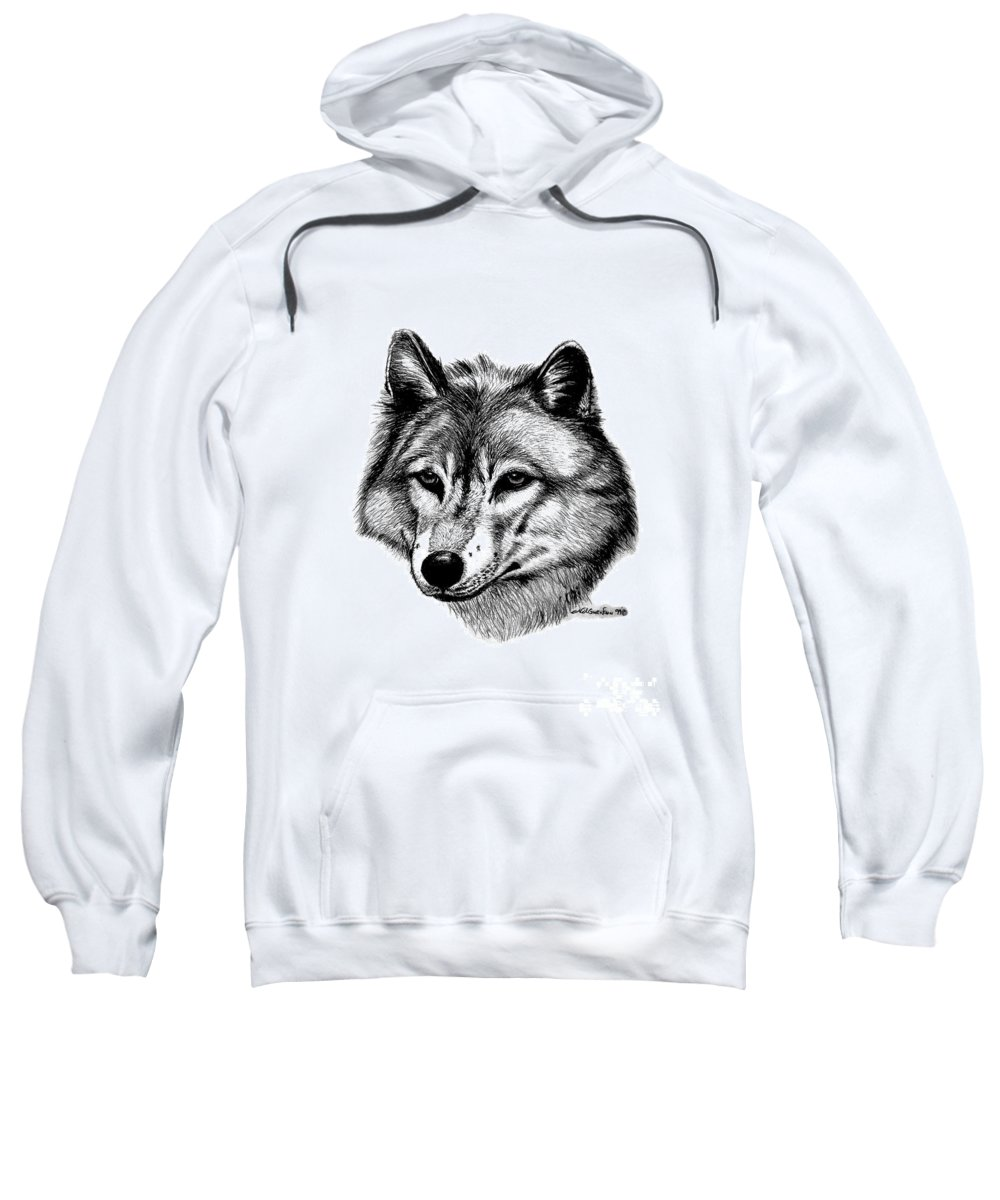 Wolf Sweatshirt featuring the drawing Wolf In Pencil by Nick Gustafson