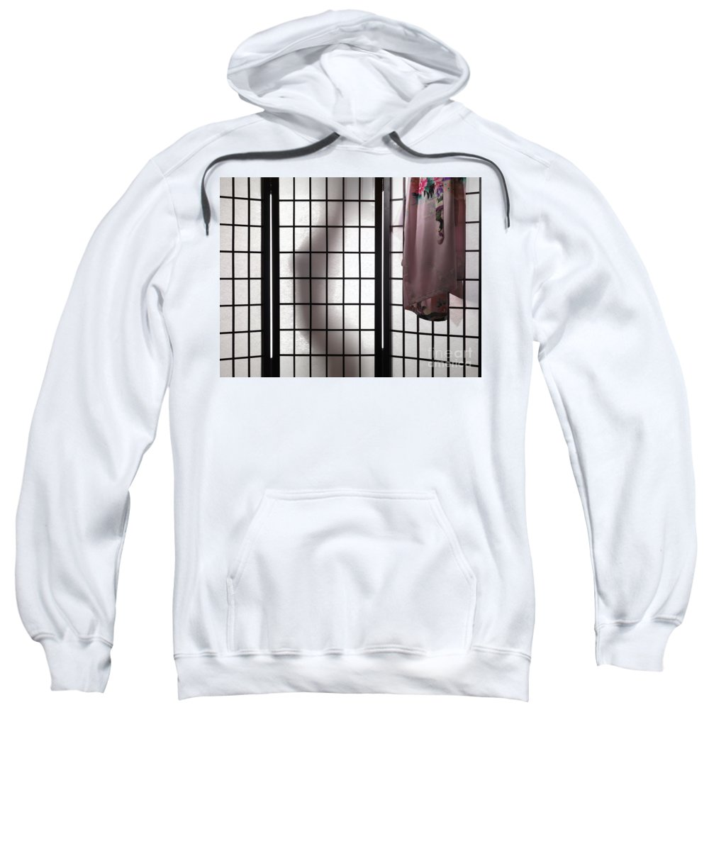 Undressing Sweatshirt featuring the photograph Woman Behind Shoji Screen by Oleksiy Maksymenko