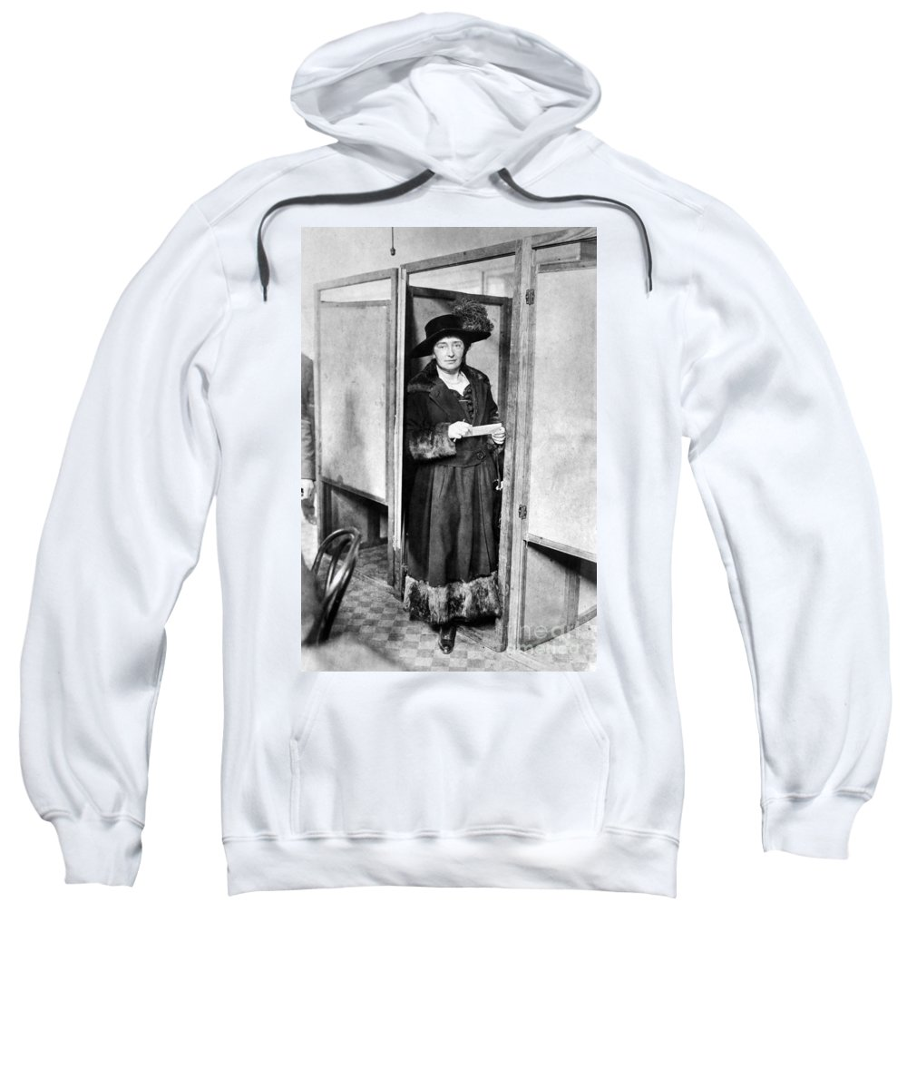 1920 Sweatshirt featuring the photograph Woman: Voting, 1920 by Granger