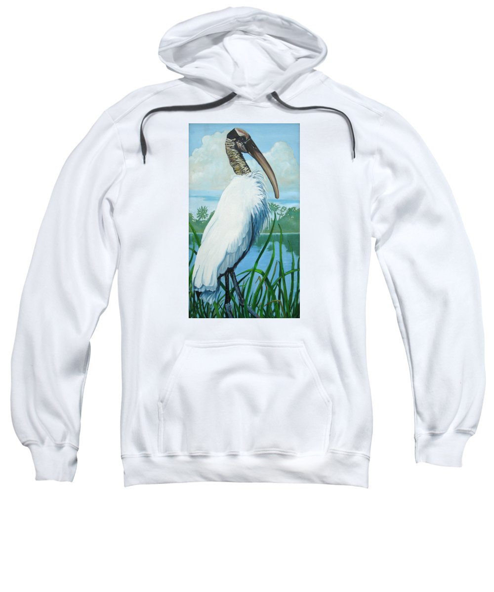 Bird Sweatshirt featuring the painting Wood Stork by D T LaVercombe