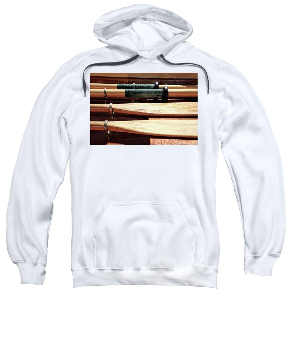 Wooden Sweatshirt featuring the photograph Wooden Oar Pattern by Savanah Plank