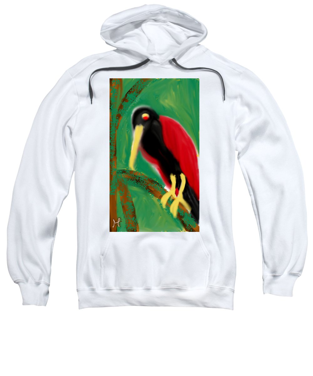 Bird Sweatshirt featuring the digital art Woodpecker by Hager Abdelrahim