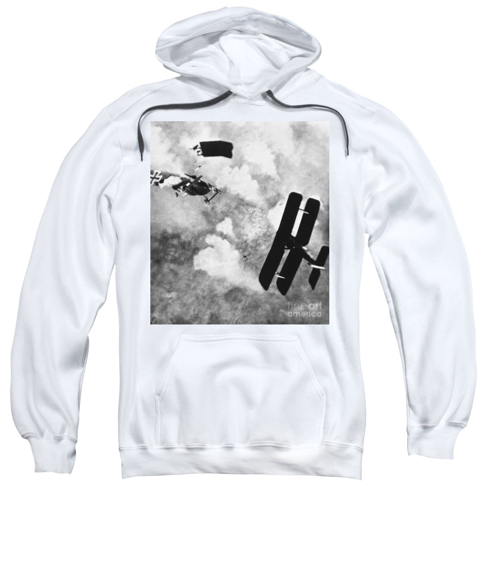1914 Sweatshirt featuring the photograph World War I: Aerial Combat by Granger