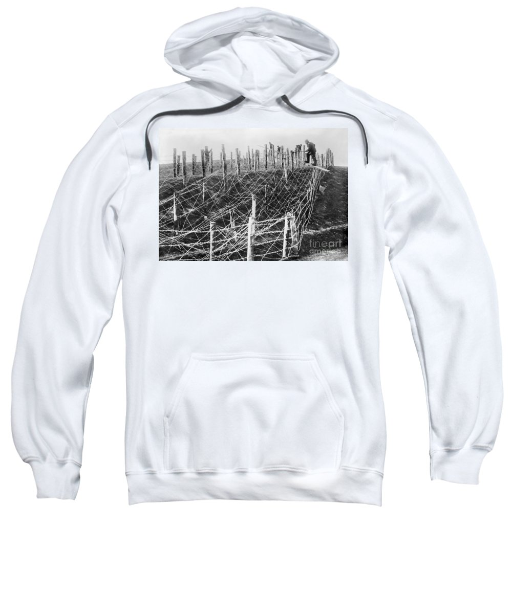 1914 Sweatshirt featuring the photograph World War I Barbed Wire by Granger