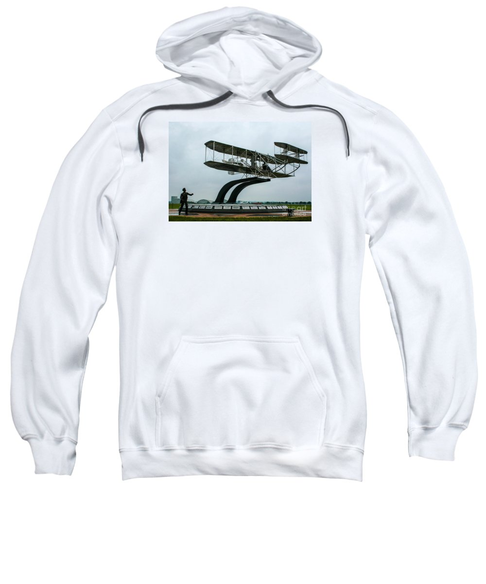 Wright Flyer Memorial Sweatshirt featuring the photograph Wright Flyer Memorial by Tommy Anderson
