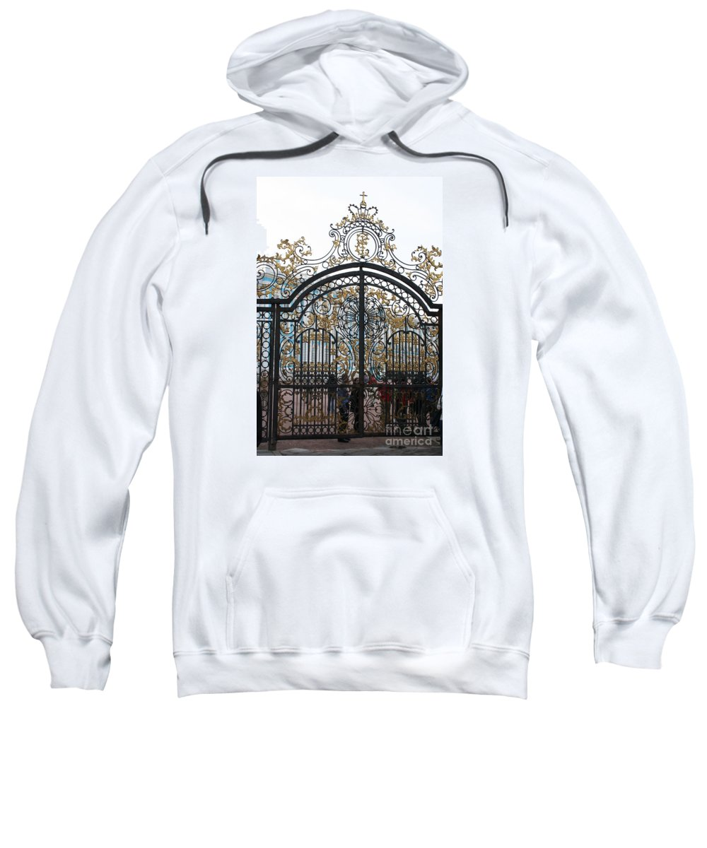 Gate Sweatshirt featuring the photograph Wrought Iron Gate by Christiane Schulze Art And Photography