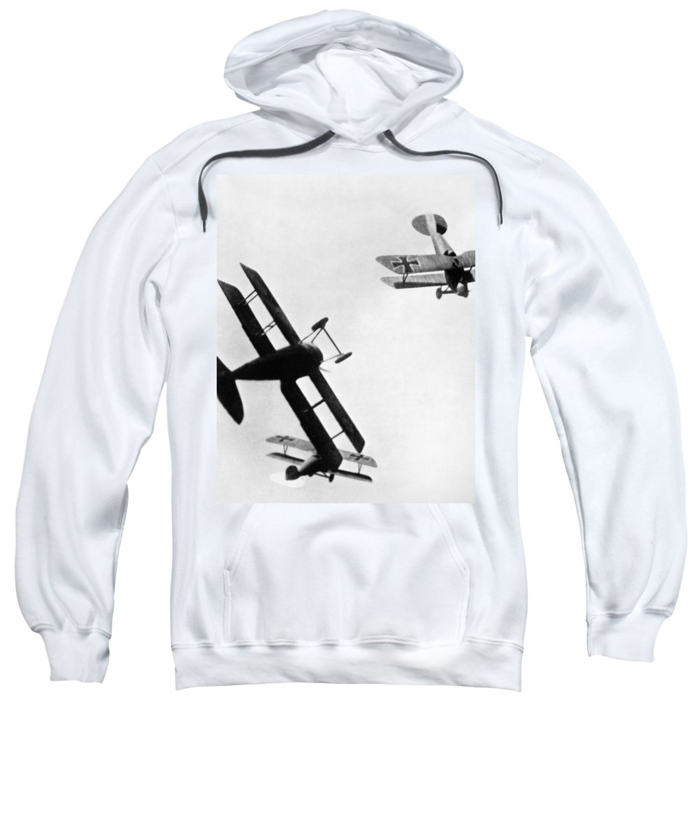 1914 Sweatshirt featuring the photograph Wwi: Dogfight by Granger