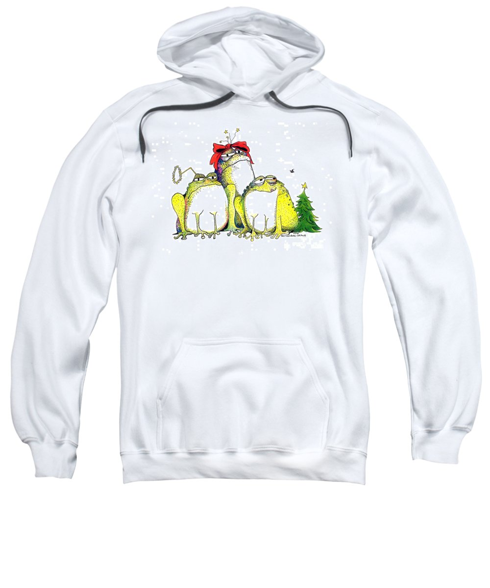 Christmas Card Sweatshirt featuring the greeting card Xmas Bows by Pat Saunders-White