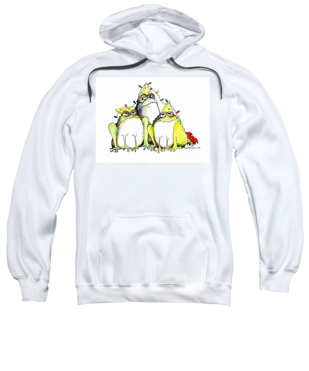 Christmas Card Sweatshirt featuring the greeting card Xmas Lights by Pat Saunders-White