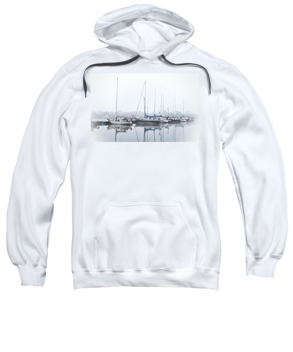 Boat Sweatshirt featuring the painting Yachting Club by Steve K
