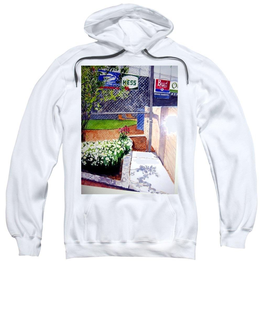 Ballpark Sweatshirt featuring the painting Yankee Stadium by Sandy Ryan