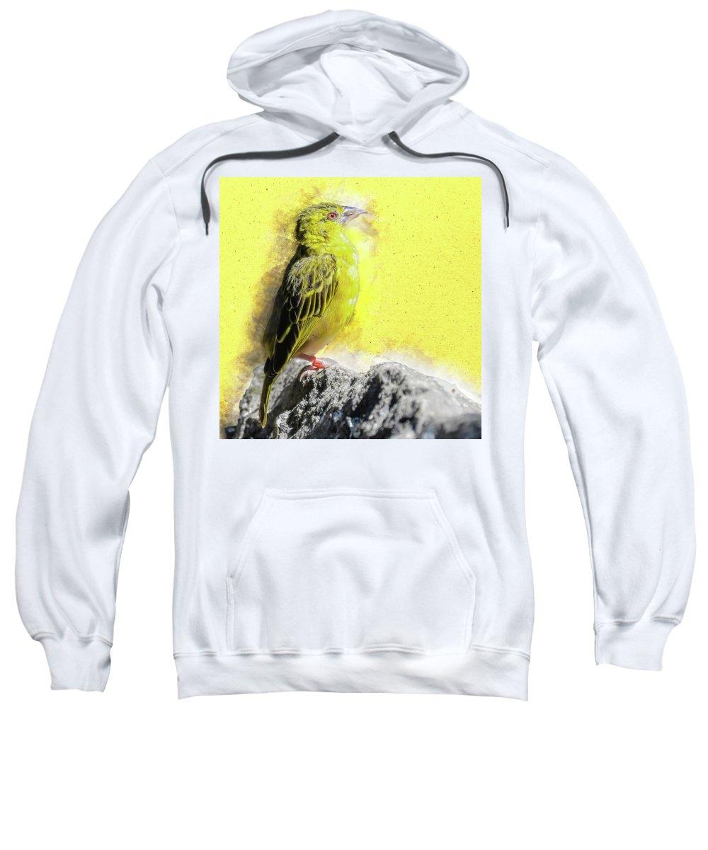 Yellow Sweatshirt featuring the digital art Yellow Bird by Art By Jeronimo