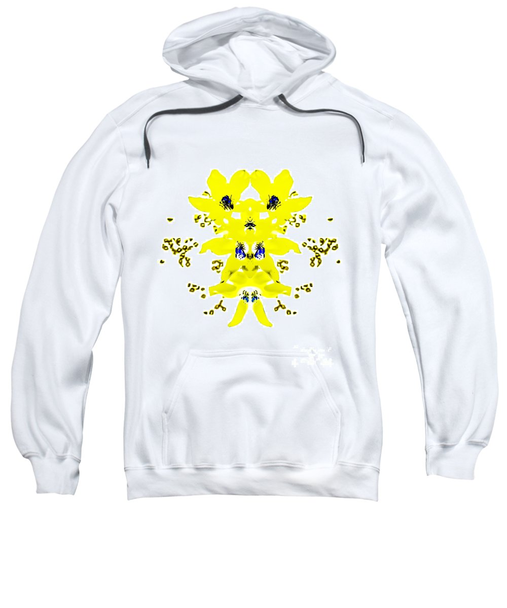 Yellow Sweatshirt featuring the photograph Yellow Blue Blossoms by Heather Joyce Morrill