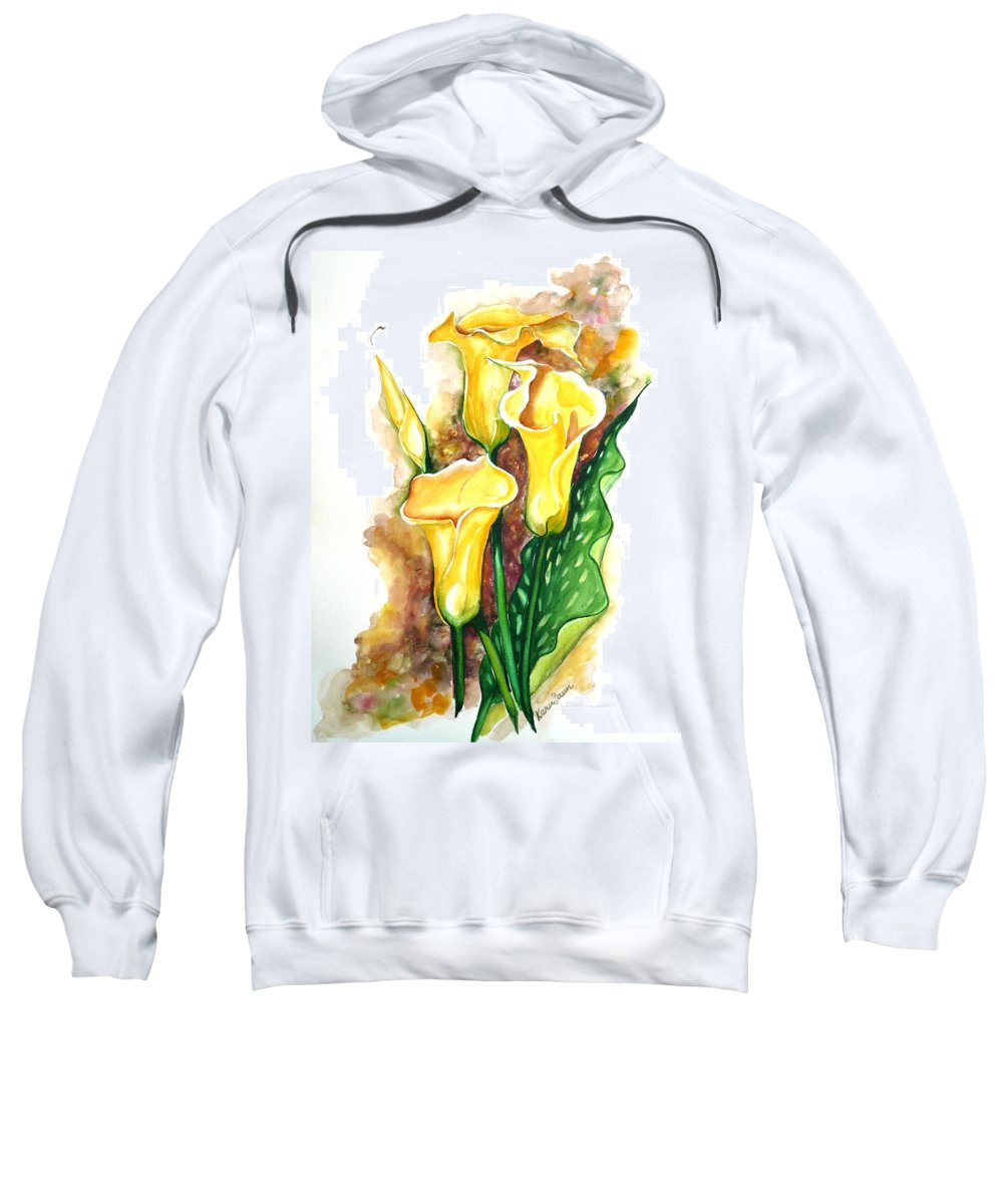 Flower Paintings Floral Paintings `yellow Flower Paintings  Lily Paintings Calla Lily Paintings  Botanical Paintings Greeting Card Paintings Canvas Print Paintings Poster Print Paintings Sweatshirt featuring the painting Yellow Callas by Karin Dawn Kelshall- Best