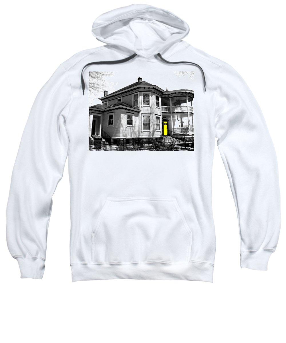 House Sweatshirt featuring the digital art Yellow Door by Will Borden