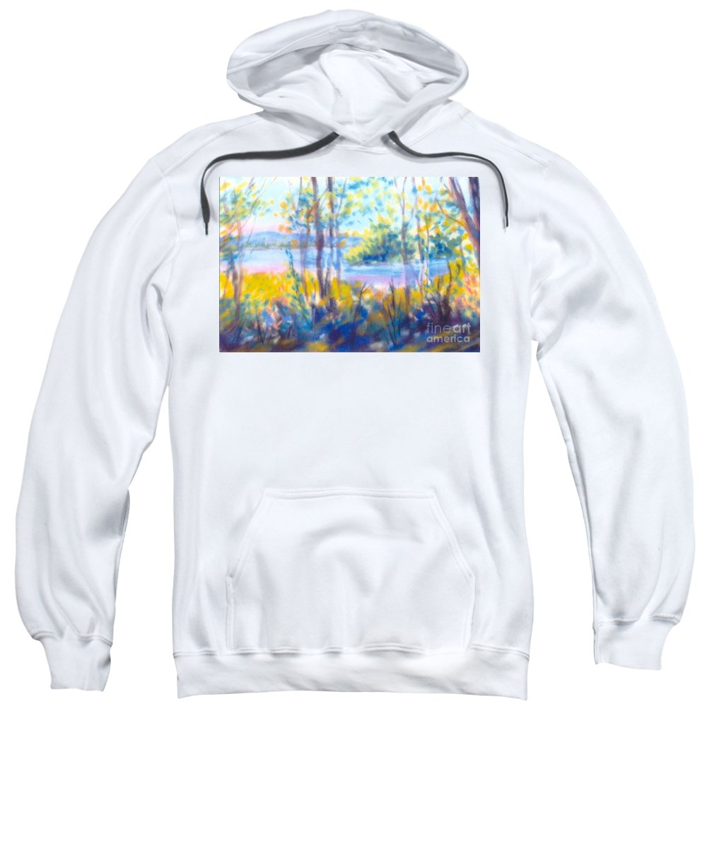 Water Sweatshirt featuring the painting Yellow Flowers by Sandy Sereno