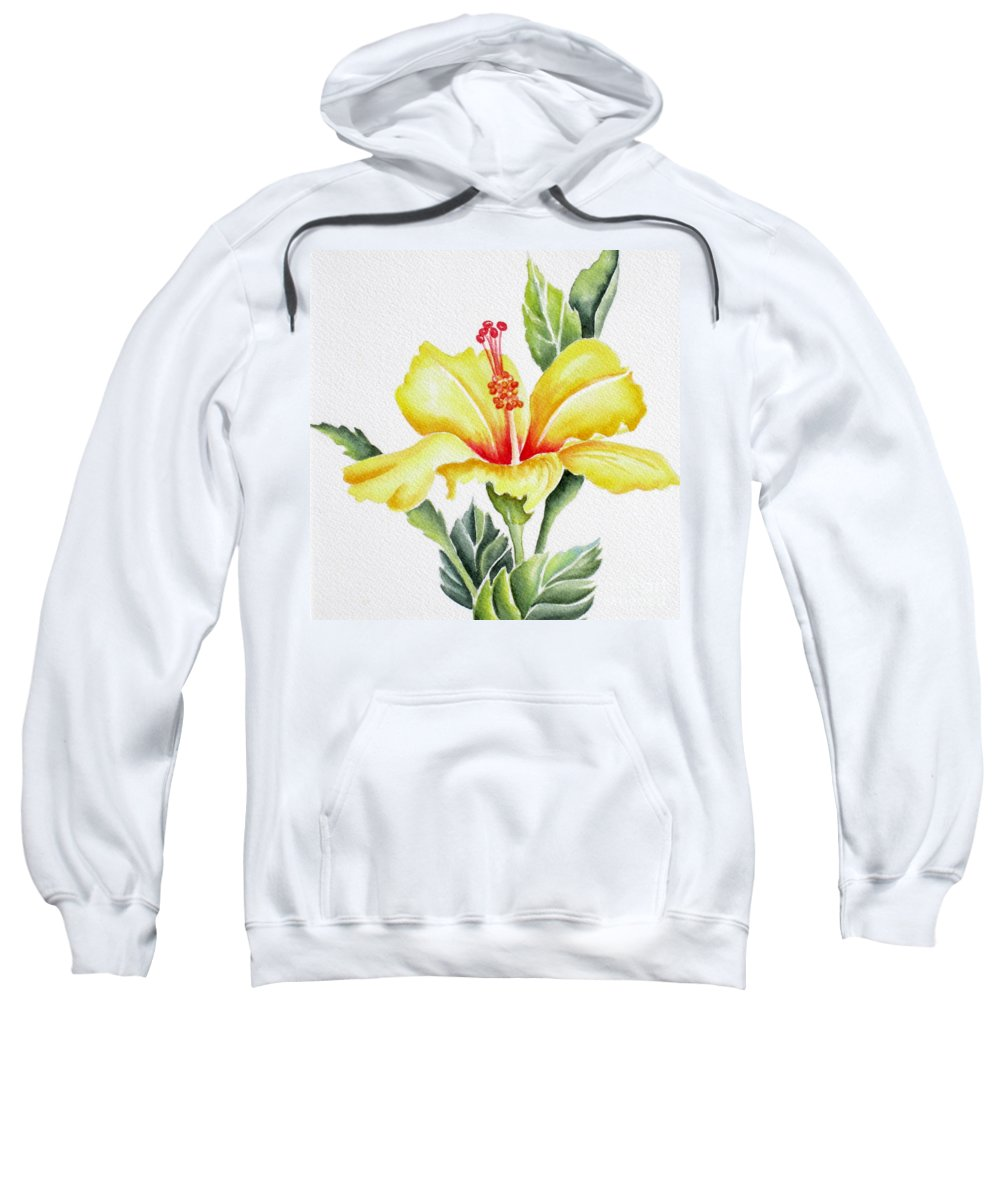 Hibiscus Sweatshirt featuring the painting Yellow Hibiscus by Deborah Ronglien
