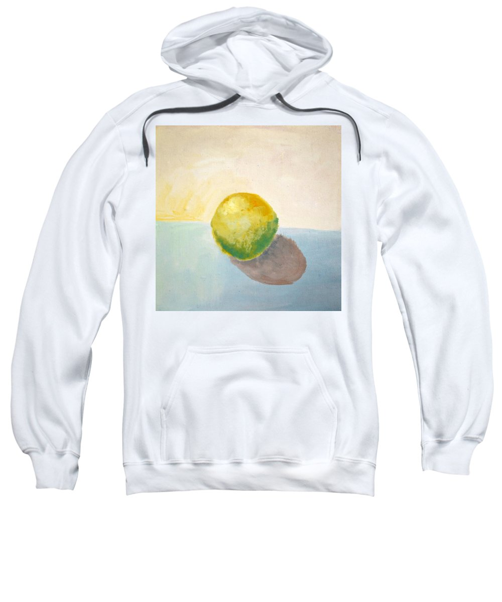 Lemon Sweatshirt featuring the painting Yellow Lemon Still Life by Michelle Calkins