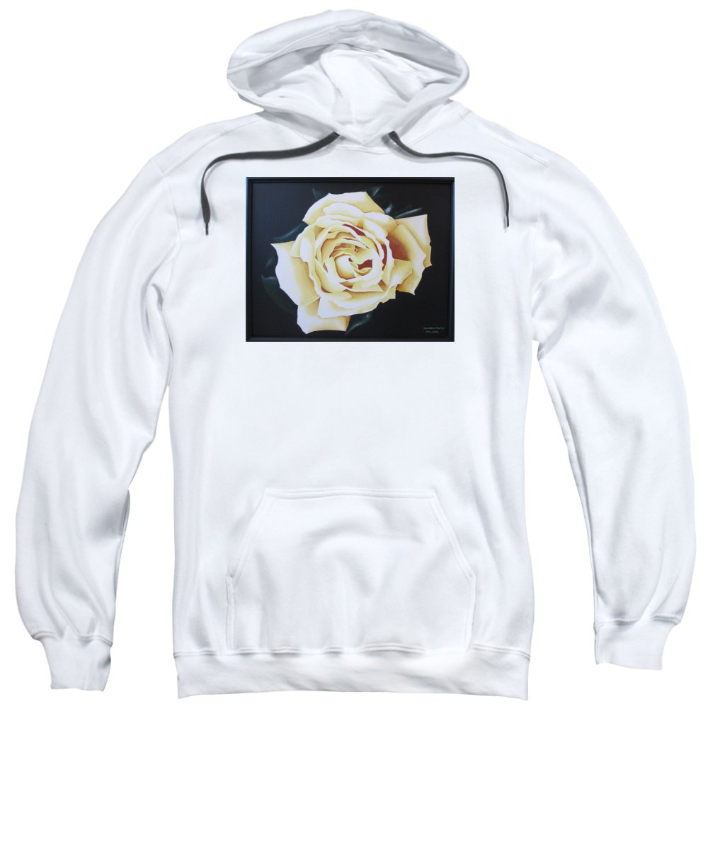 Rose Sweatshirt featuring the painting Tea Rozsa by Marianna Hoefle