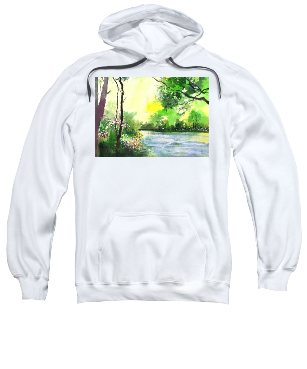 Sky Sweatshirt featuring the painting Yellow Sky by Anil Nene