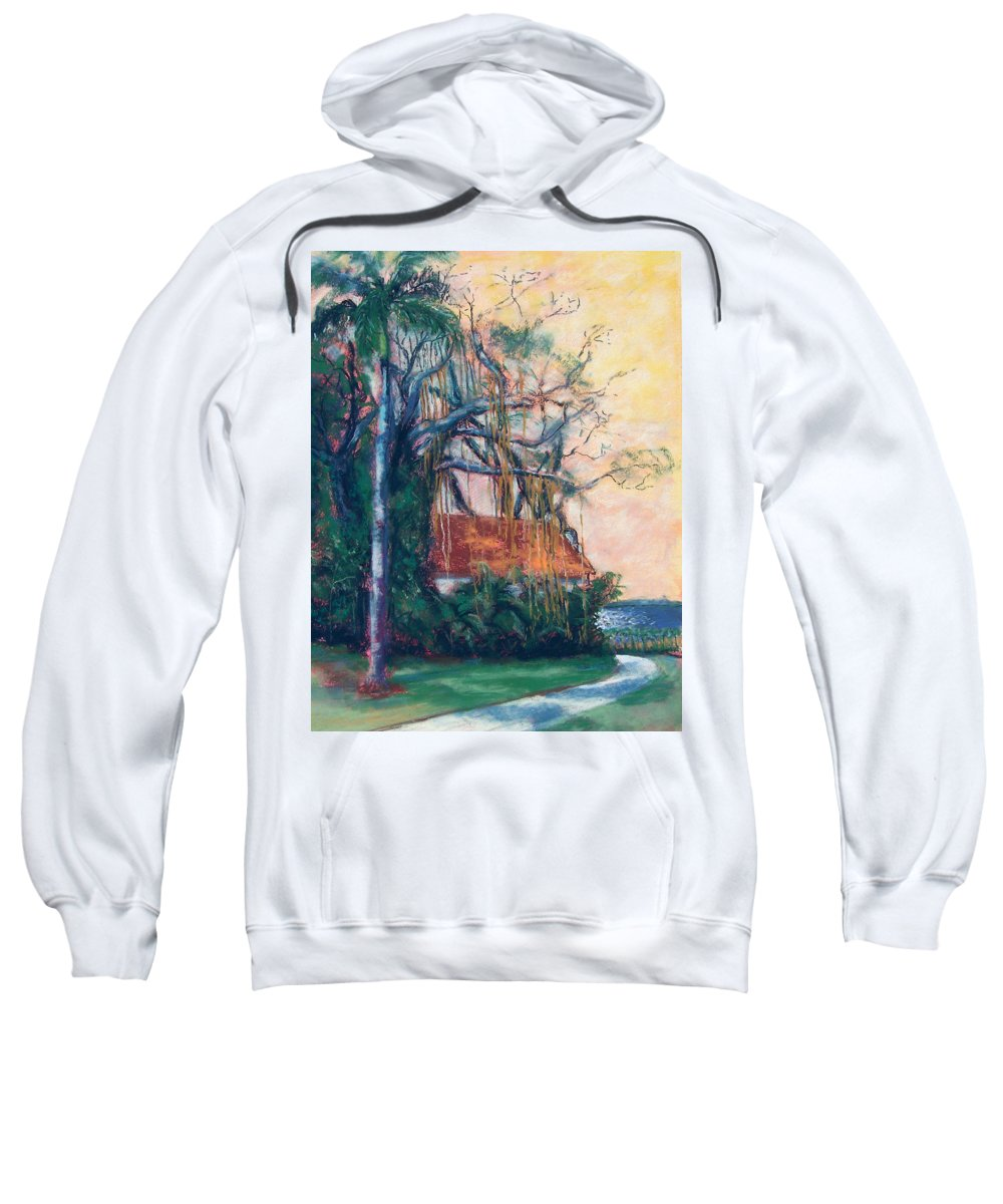 Edison Sweatshirt featuring the painting Yellow Sky At Edison Winter Estate by Laurie Paci