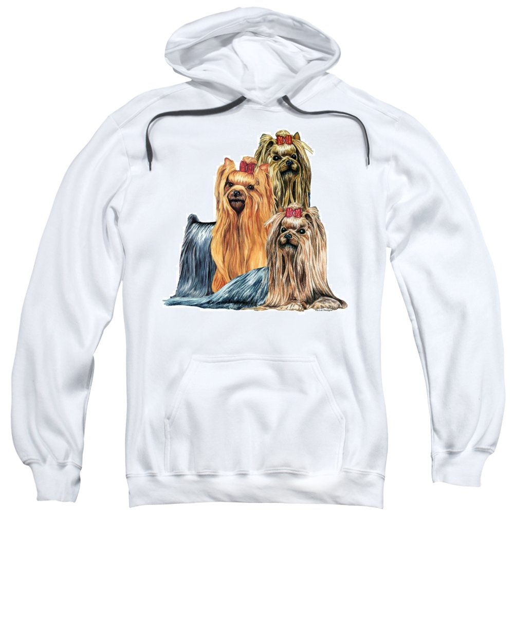Yorkshire Terrier Sweatshirt featuring the drawing Yorkshire Terriers by Kathleen Sepulveda