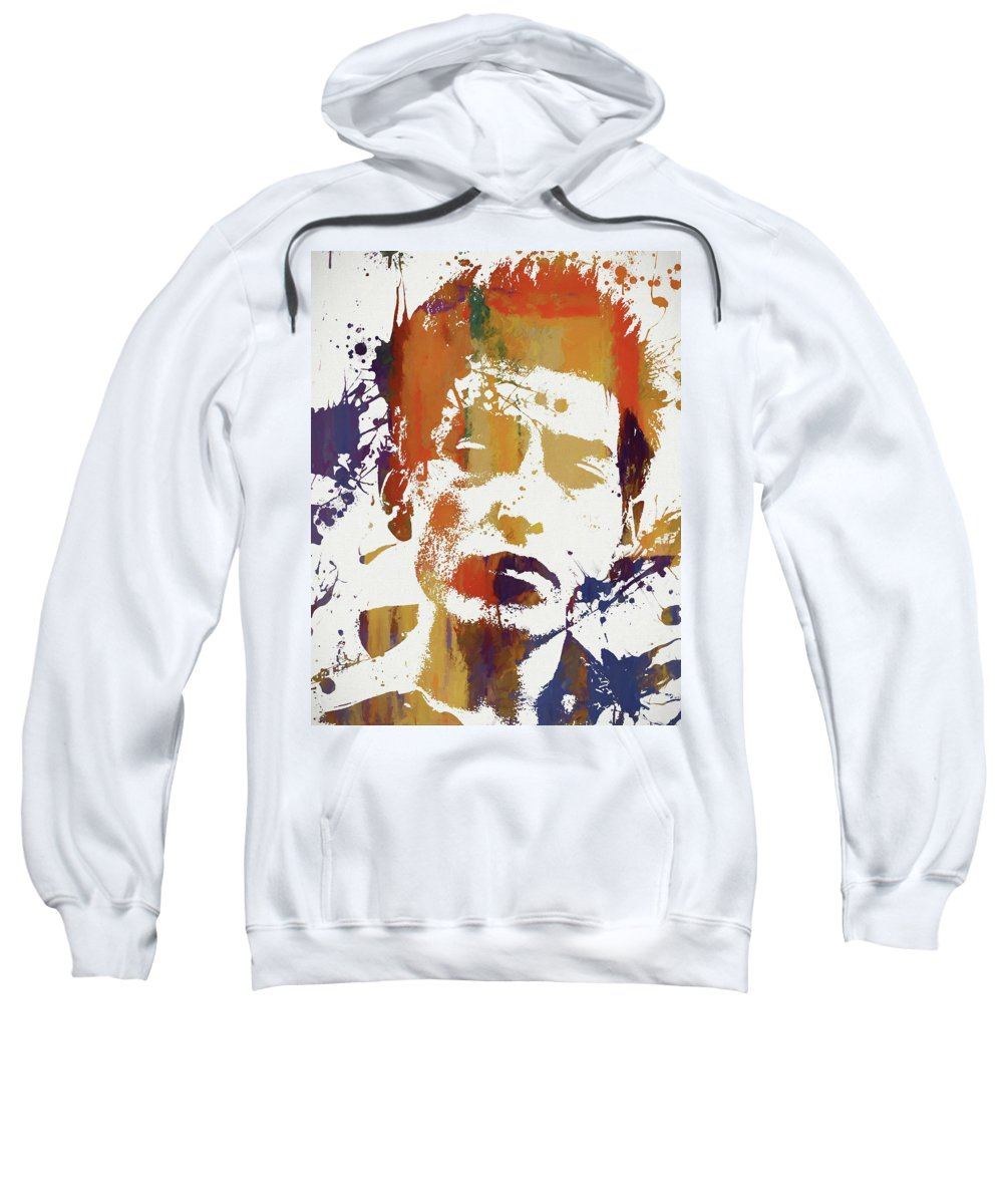 Young Bob Dylan Sweatshirt featuring the painting Young Bob Dylan by Dan Sproul
