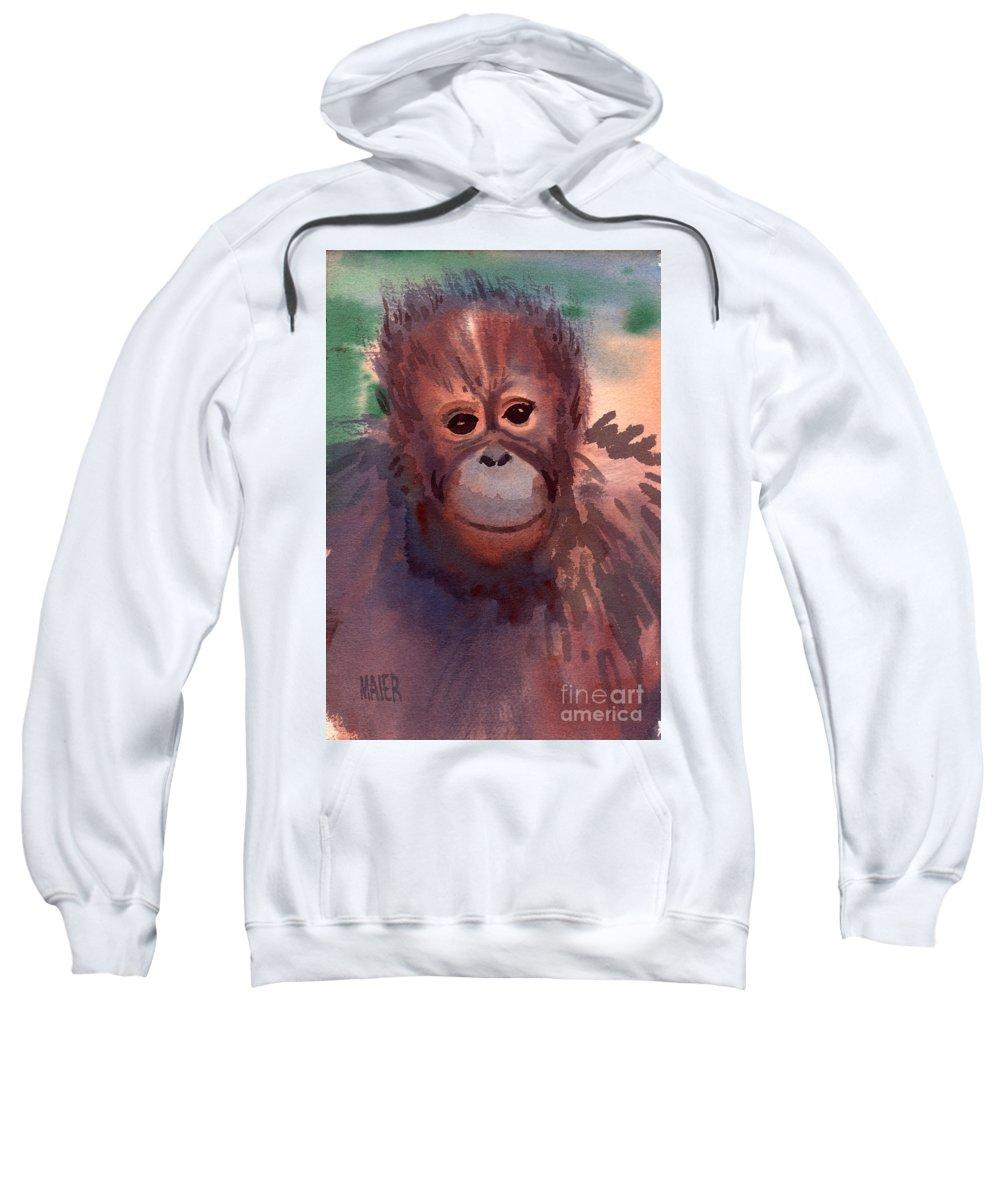 Orangutans Sweatshirt featuring the painting Young Orangutan by Donald Maier