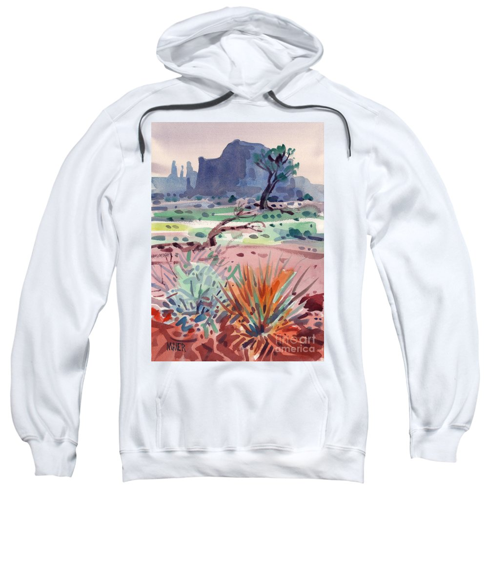 Monument Valley Sweatshirt featuring the painting Yucca And Buttes by Donald Maier