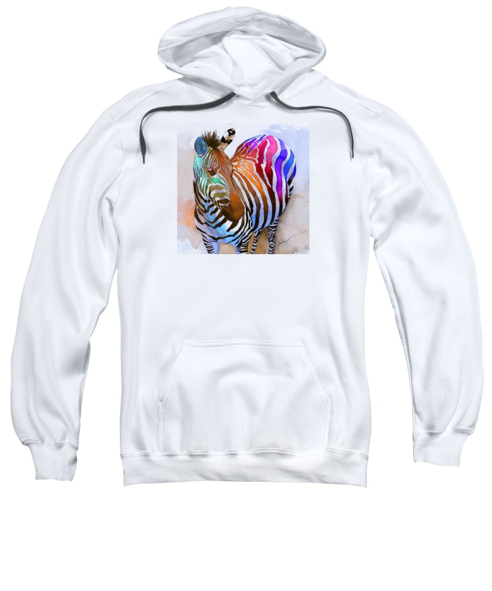 Colorful Sweatshirt featuring the painting Zebra Dreams by Galen Hazelhofer