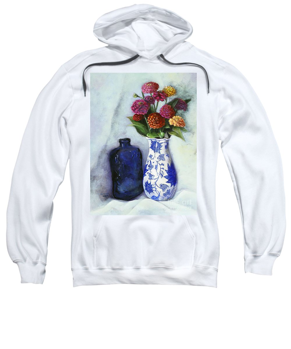 Still Life Sweatshirt featuring the painting Zinnias With Blue Bottle by Marlene Book