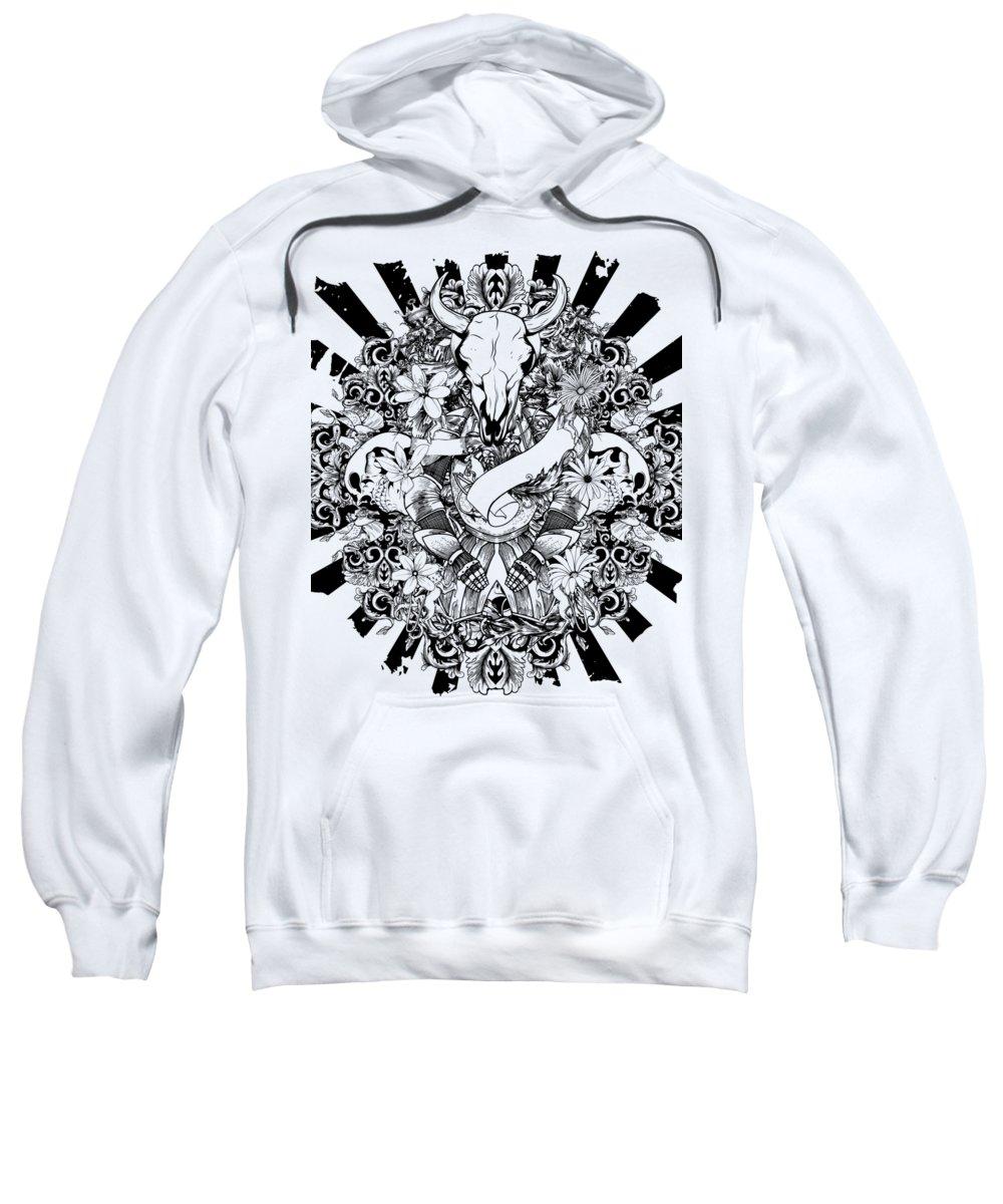 Goth Sweatshirt featuring the digital art Animal Skull by Passion Loft
