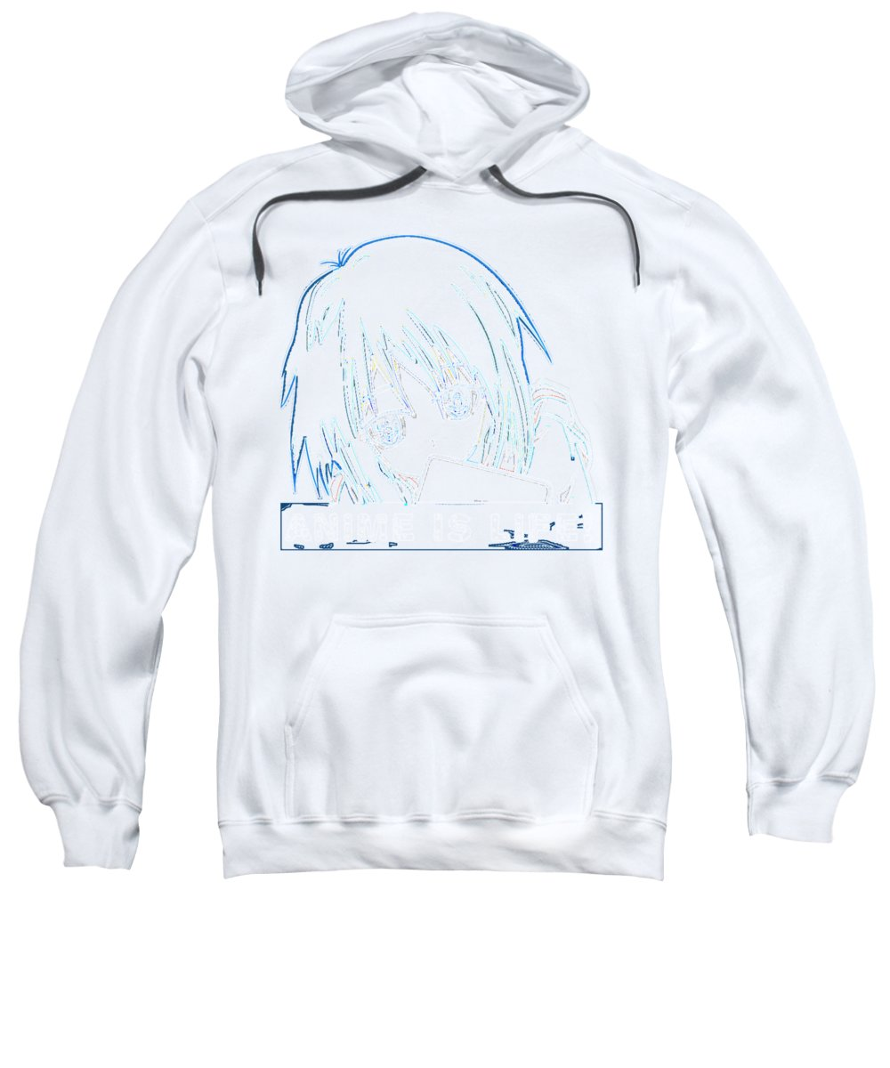 Anime Art Sweatshirt featuring the digital art Anime Is Life Outline 2 by Kaylin Watchorn