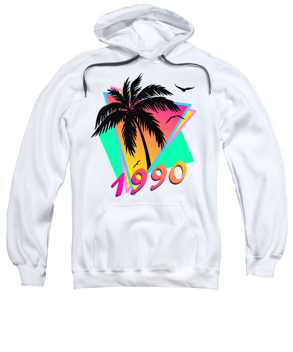 This Cool Design Features Classic Vintage 80s Style Summer Sunset Pop Art Inspired By Retro Vhs Tapes Of Famous Tv Shows And Movie Posters. A Palm Tree By The Ocean And Seagulls In Front Of The Glow Of The Sun. This Colorful Print In Yellow Sweatshirt featuring the digital art 1990 Cool Tropical Sunset by Filip Schpindel