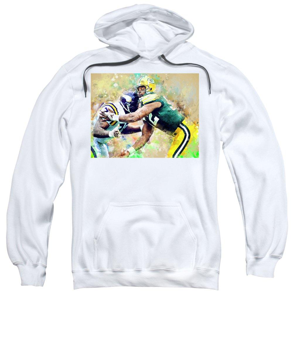 Green Bay Packers Sweatshirt featuring the digital art Reggie White. Green Bay Packers. by Nadezhda Zhuravleva