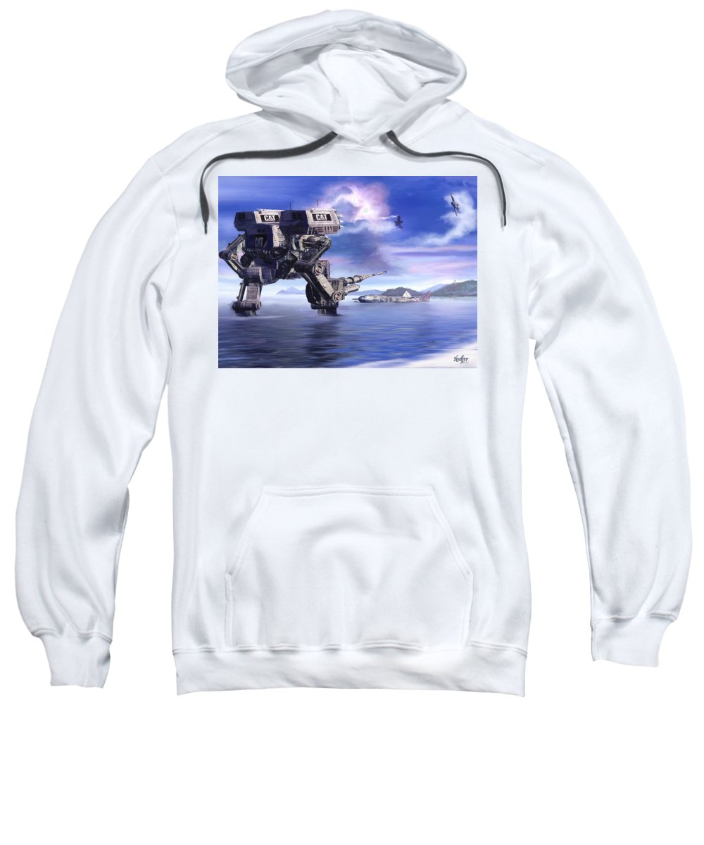 Science Fiction Sweatshirt featuring the mixed media 501st Mech Defender by Curtiss Shaffer