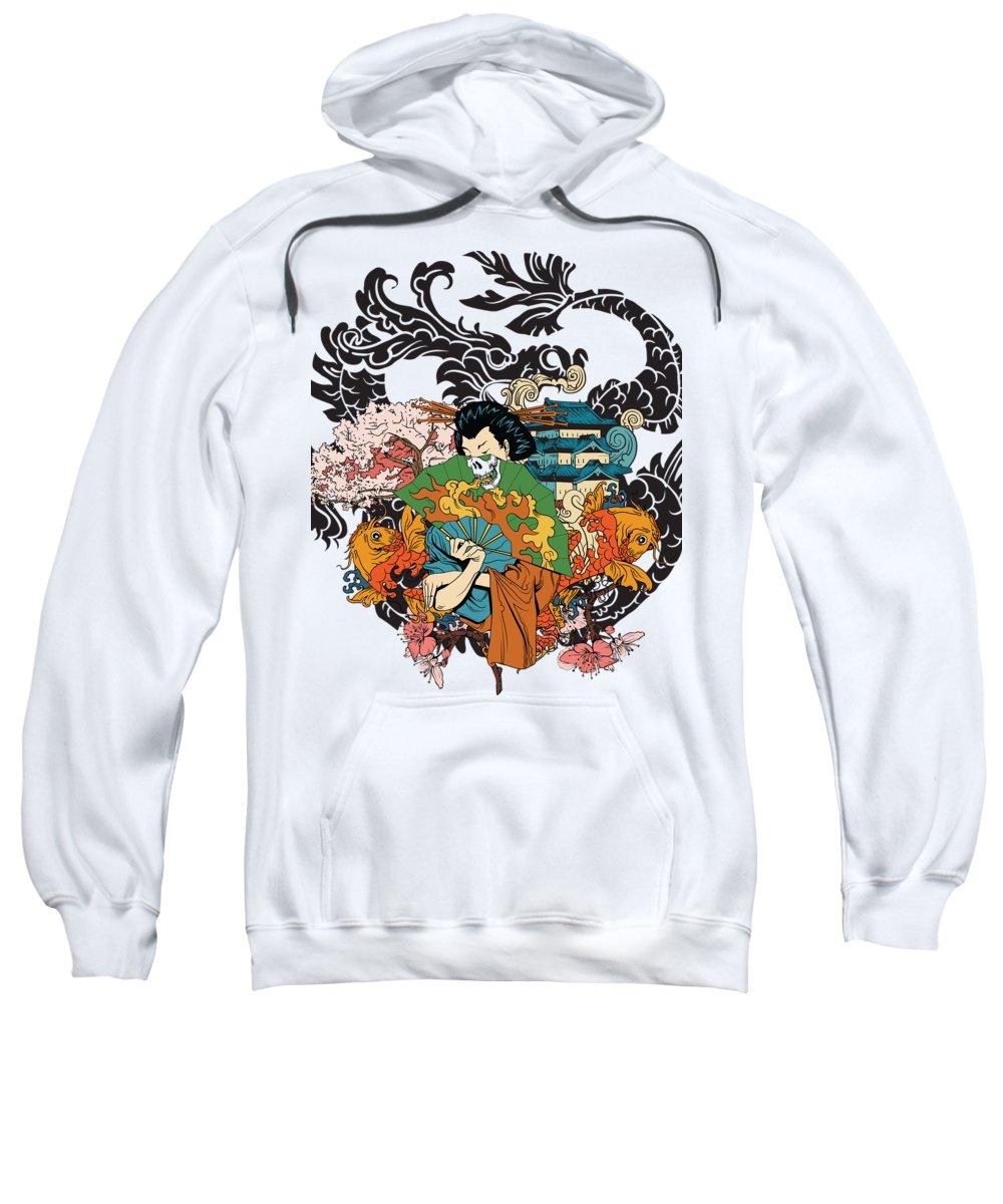 Japanese Sweatshirt featuring the digital art Geisha by Passion Loft