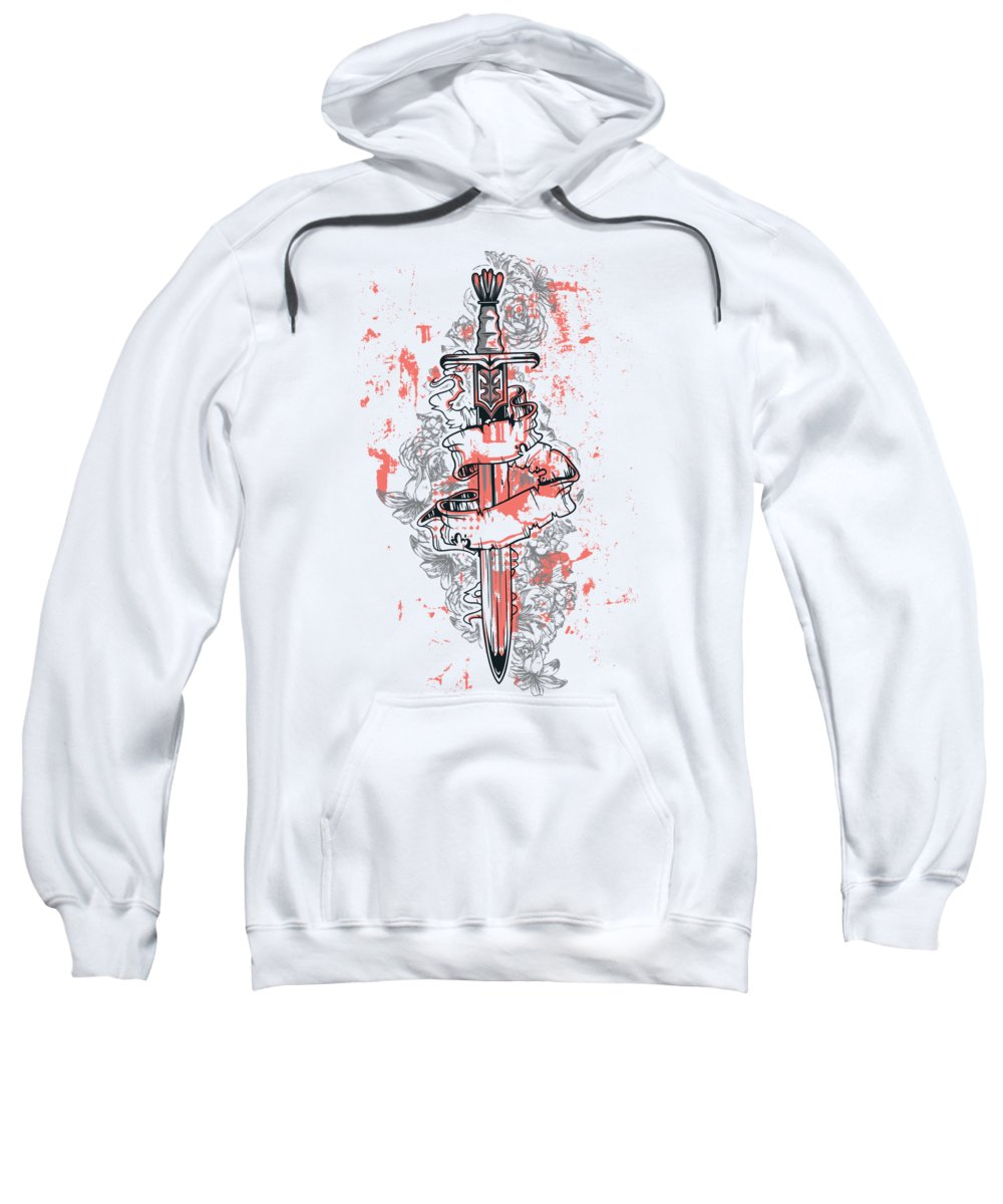 Knights-sword Sweatshirt featuring the digital art A Sword A Scroll Flowers And Grunges by Passion Loft